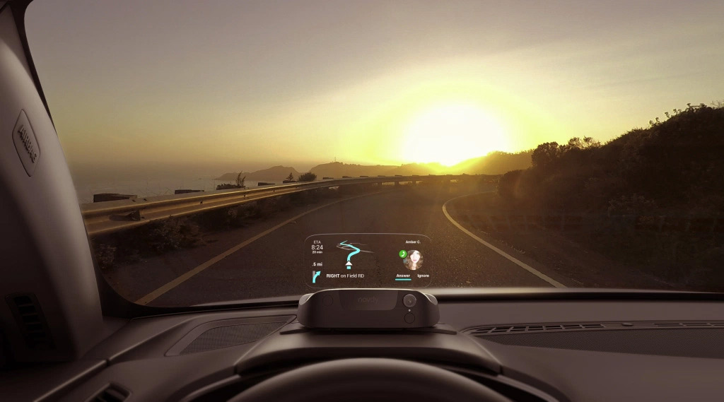 Navdy combines popular Head-Up Display technology with your favorite phone apps, projecting your maps, calls, messages, and music directly in front of you, so you can keep your hands on the wheel and your eyes on the road.