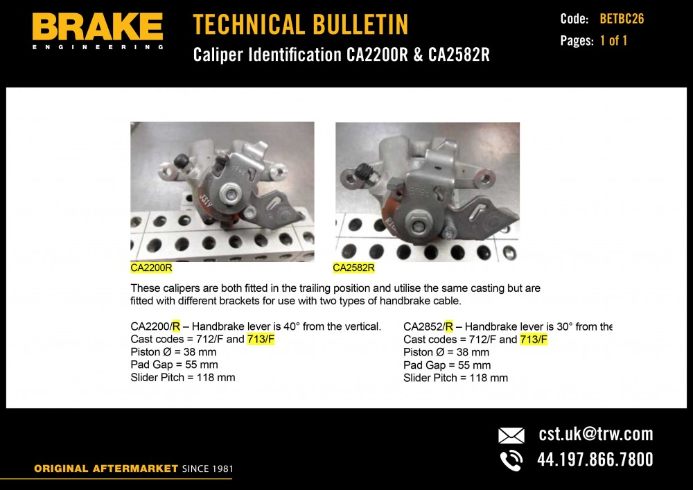 Brake Engineering has launched a series of technical bulletins providing additional support to its customers on a range of braking products.