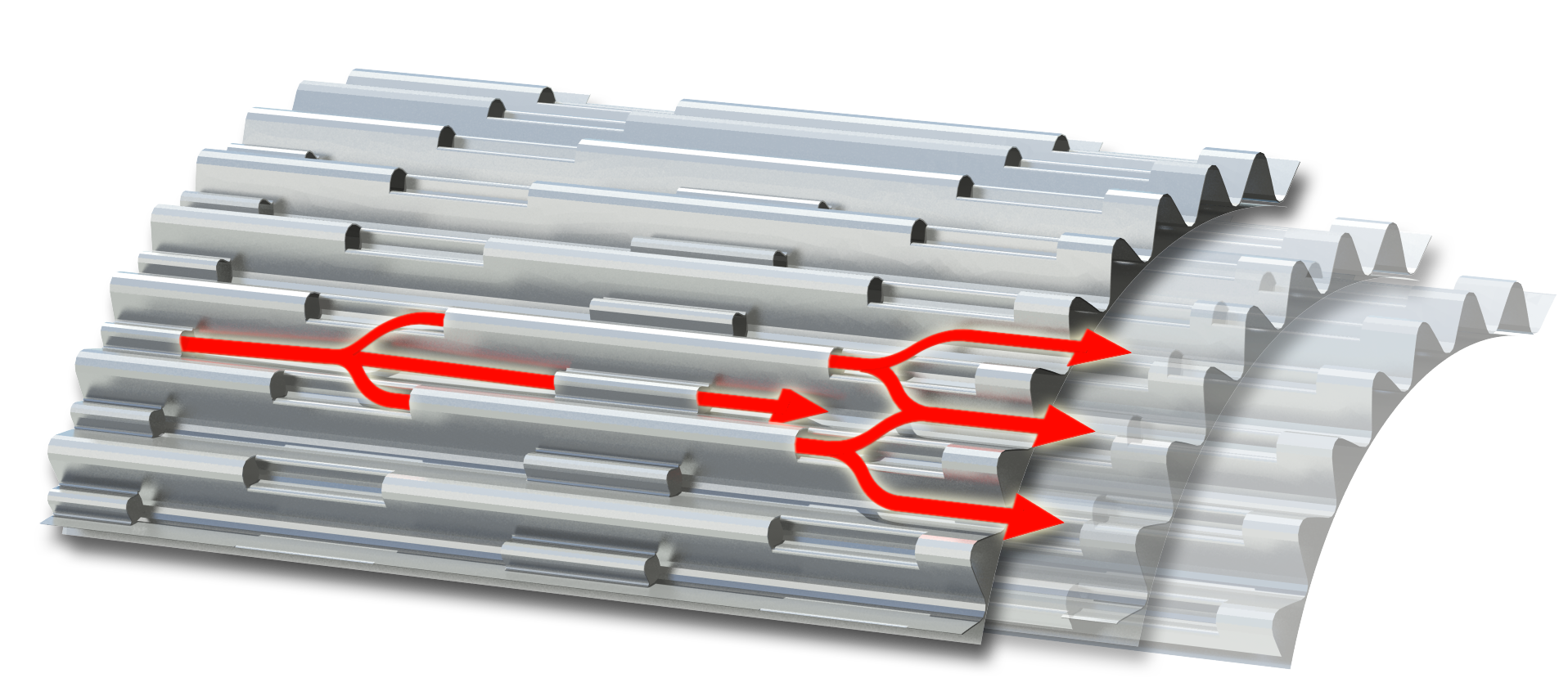 """The core of the catalytic converter is wound from """"LS"""" metal foil, a material developed by Continental. Longitudinal structures (= LS) in this foil or substrate create more turbulence in the exhaust gas. This ensures better contact between the nitrogen oxides and the catalytically coated substrate, resulting in higher conversion efficiency."""