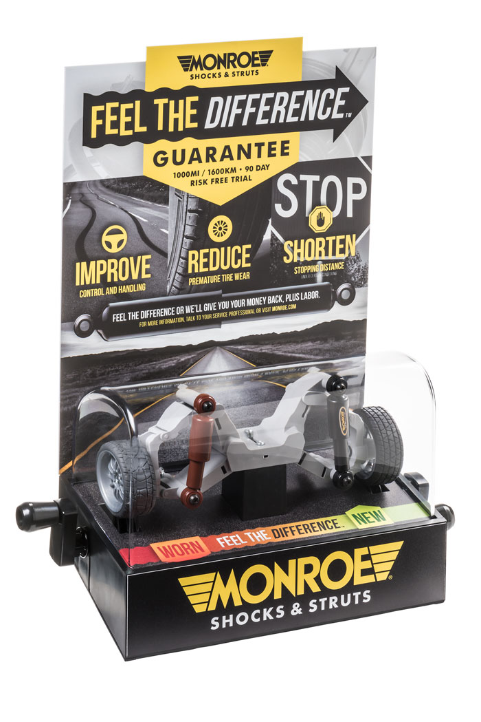 "The new Monroe ""Feel the Difference"" shock simulator invites consumers to cycle a miniature vehicle's suspension through a variety of driving conditions."