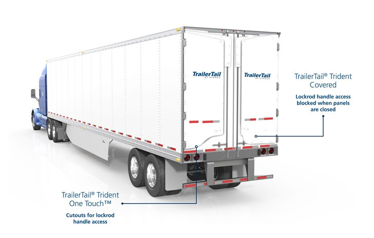 When undeployed, standard Trailer Tail panel at left allows ready access to door handle. New Covered panel blocks the handle unless pulled away from the door. Panels fold out of the way when doors are opened against trailer's sides.