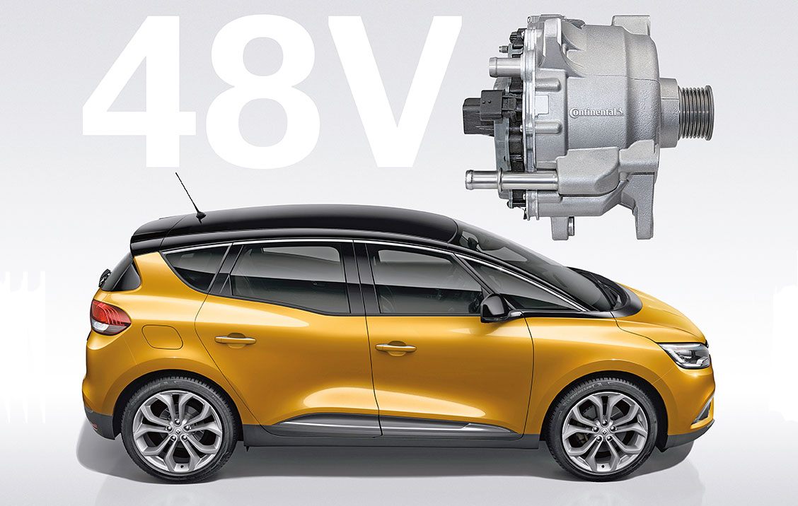 The worldwide first 48-volt hybrid drive from Continental in production at Renault Scenic Hybrid Assist. CO2 target: 92 grams / kilometer