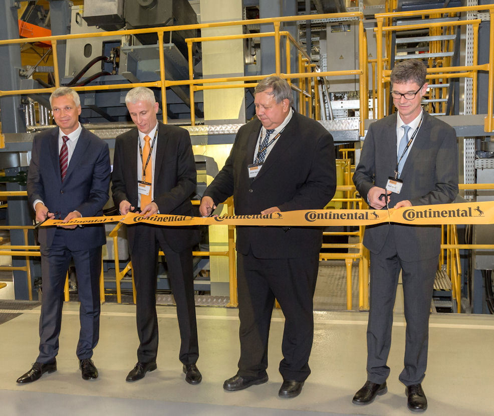 (l to r): Otrokovice plant manager Libor Láznička, CVT head Andreas Esser, Zlín Region hetman Stanislav Mišák and Thierry Wipff at the opening ceremony
