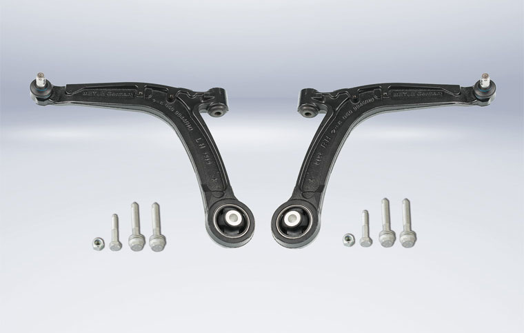 MEYLE-HD control arms for Fiat models. MEYLE part numbers 216 050 0044/HD (LH) and 216 050 0045/HD (RH).
