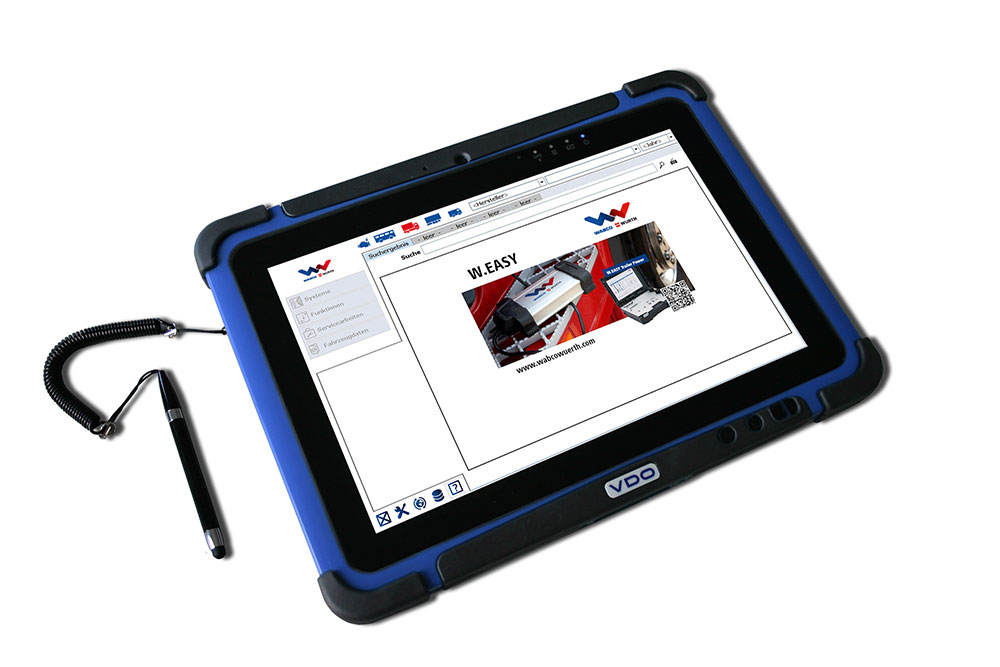 Expanded functionality – The W.EASY multi-brand system by WABCOWÜRTH can soon be used on the VDO Workshop Tablet.