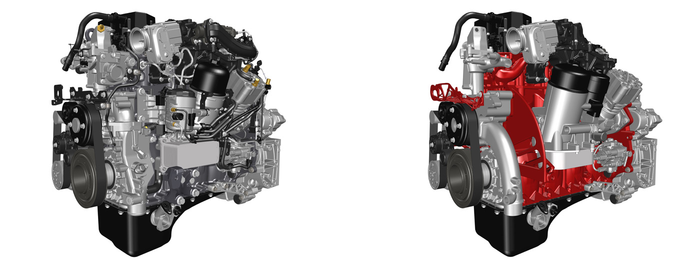 On the left,the starting point, the Renault Trucks DTI5 Euro 6 engine, 841 parts. On the right, the same engine exclusively designed using 3D metal printing to reduce weight ans number of components.