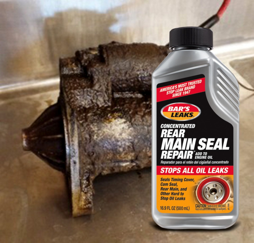 Bar's Leaks Concentrated Rear Main Seal Repair is designed to fix slow oil leaks from the rear main seal: the most common cause of an oil- soaked starter in an older engine, like the one seen here.