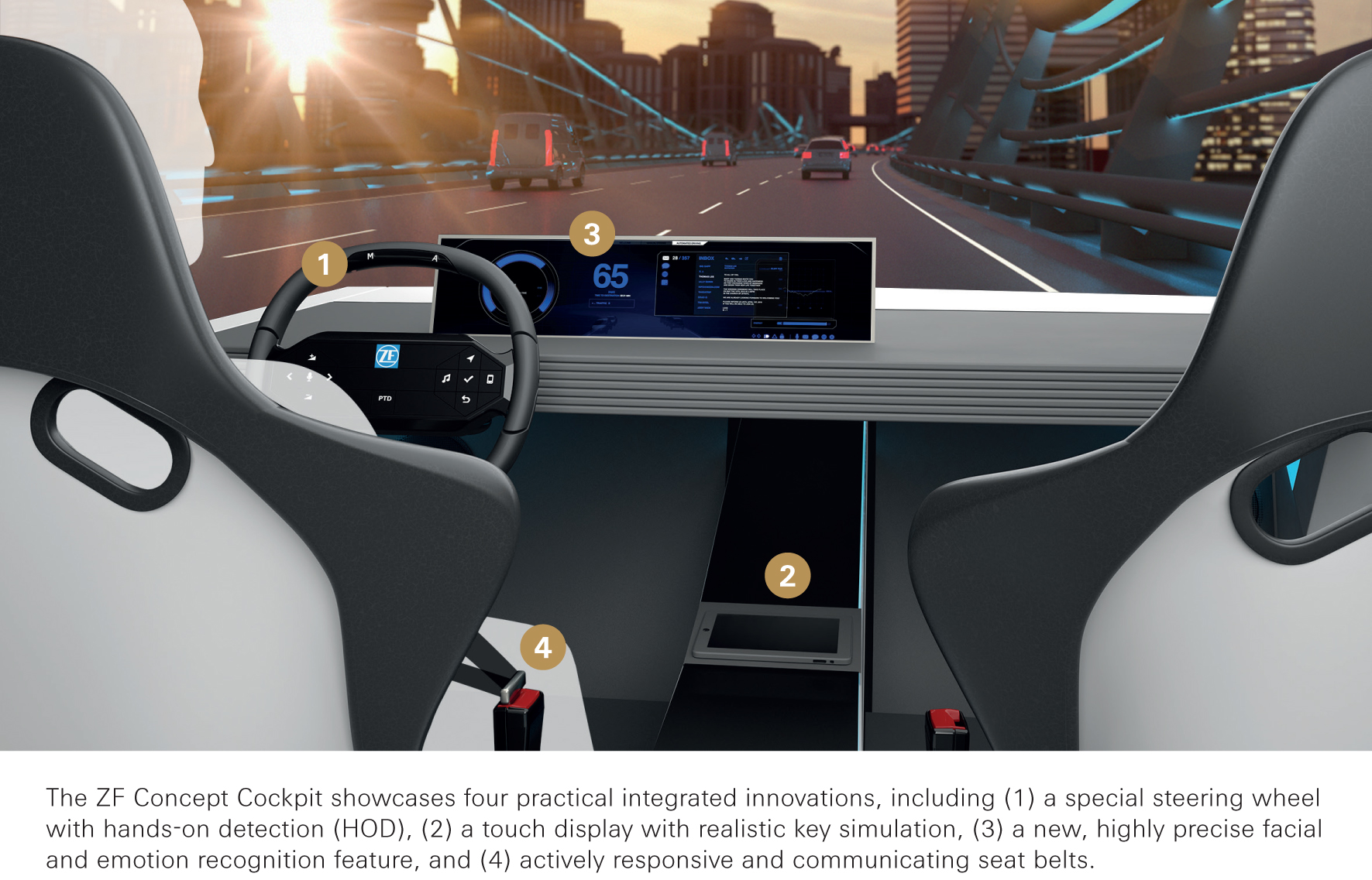 The ZF Concept Cockpit showcases four practical integrated innovations, including (1) a special steering wheel with hands on/off detection, (2) a touch display with realistic key simulation, (3) a new, highly precise facial and emotion recognition feature, and (4) actively responsive and communicating seat belts.