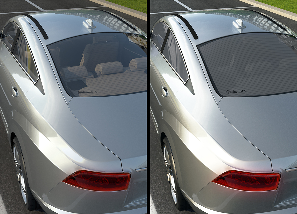 Controlled icremental darkening of car windows prevents heat entry and lowers CO2 emmissions.