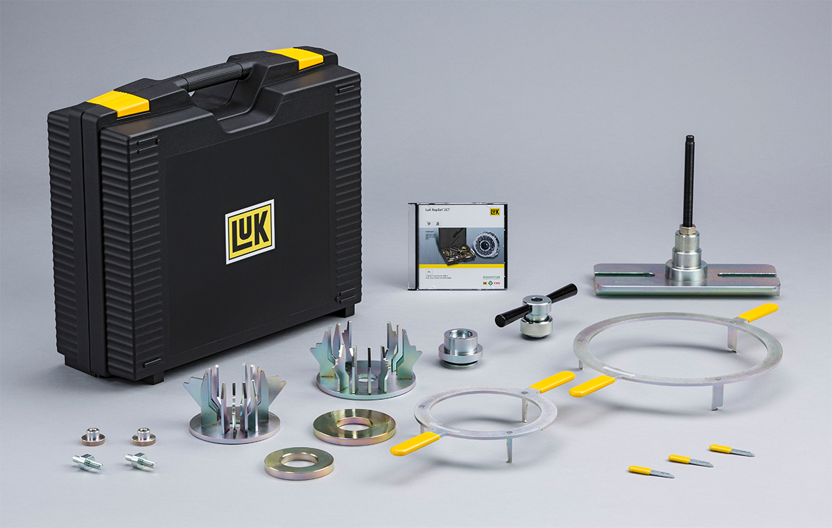 The LuK Resetting Tool Kit for Ford vehicles using the 6-speed DPS6 transmission is necessary whenever the old double clutch is used again after being removed. For example, if work was done on the gearbox gaskets and then transport lock needs to be reset again.