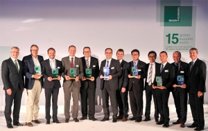 Eight top suppliers receive the MANN+HUMMEL Global Supplier Award 2015